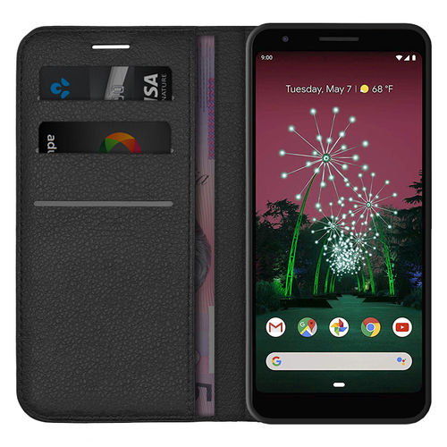 Leather Wallet Case & Card Holder Pouch for Google Pixel 3a - Black